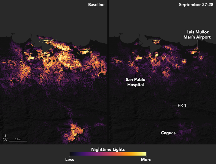 "San Juan, capital of the commonwealth, before and after Hurricane Maria. Data was acquired by the Visible Infrared Imaging Radiometer Suite (VIIRS) ""day-night band,"" which detects light in a range of wavelengths from green to near-infrared, including reflected moonlight, light from fires and oil wells, lightning, and emissions from cities or other human activity. Via NASA."