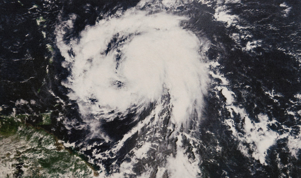 Geocolor Image in the eye of Hurricane Maria category 3 storm as it headed toward the Caribbean, Puerto Rico, the Dominican Republic and Haiti. Elements of this image furnished by NASA.