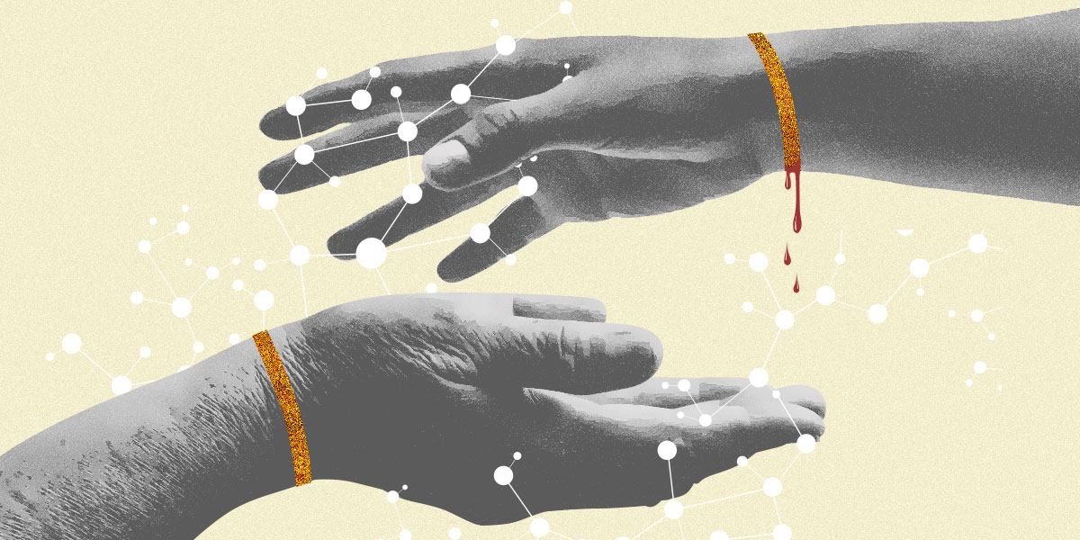 Graphic of Two Hands (Young and Old) wearing copper bracelets, one dripping with blood, surrounded by DNA structures