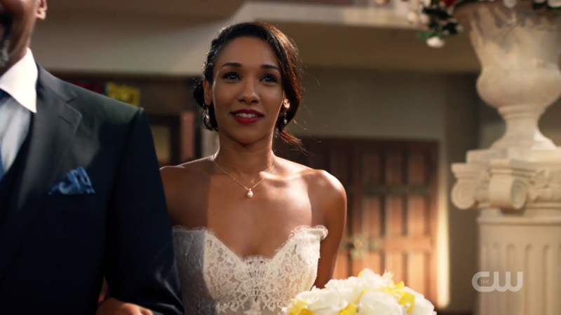 Iris West looks lovely in her wedding dress