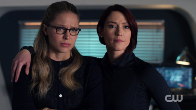 Alex puts her arms around a confused and sad Kara