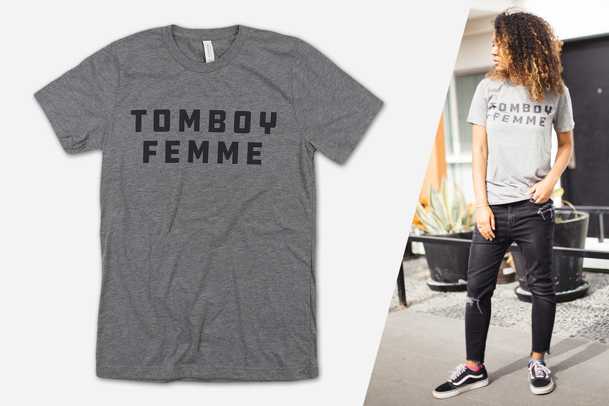 Autostraddle Merch: Tomboy Femme Tee modeled by
