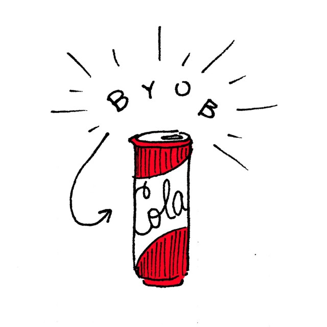 text: byob image: a can of cola