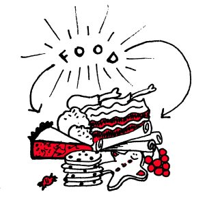 text: food image: a pile of holiday treats and food