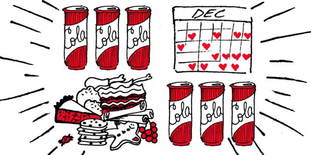 holiday illustration: cola cans, a december calender marked with hearts, and a pile of delicious holiday treats and food