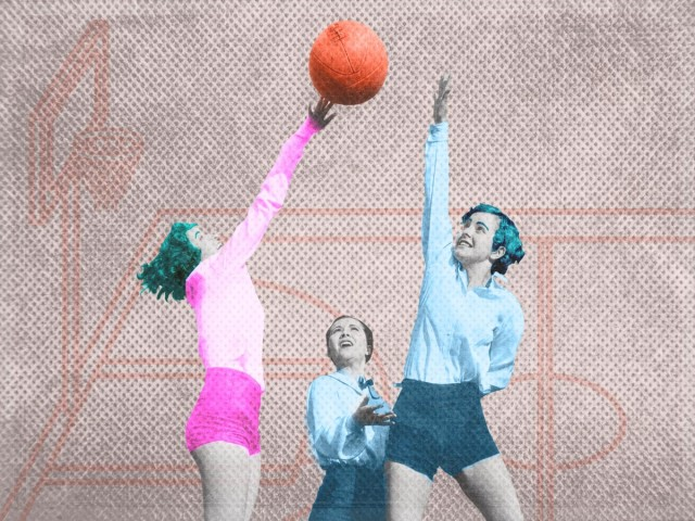 vintage photography collage, three women all jumping and reaching for a basketball in candy colors