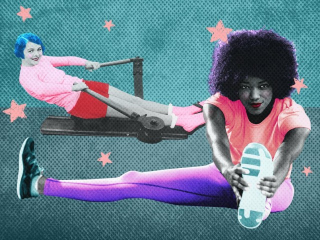 Vintage Collage: Retro image of woman using a rowing machine, and an african american woman stretching her leg