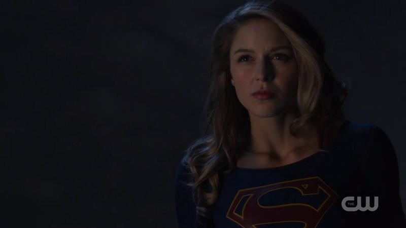 Supergirl's determined face