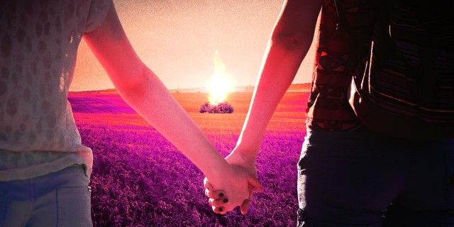 photo collage - two girls holding hands watching a bush on fire in a countryside field