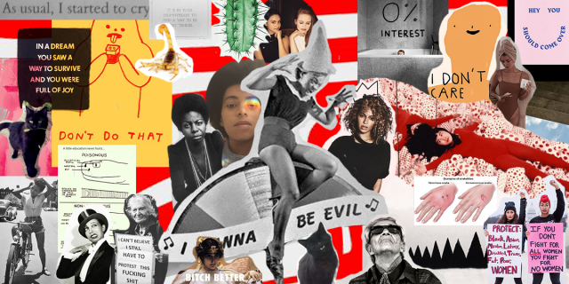 Raquel's 2018 Moodboard with many different collaged images, including Eartha Kitt, Solange, Nina Simone, Beyonce, Chavela, and Josephine Baker
