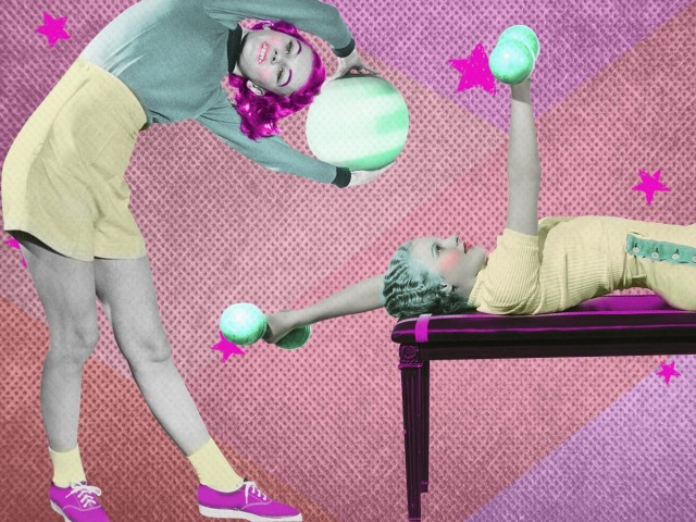 Vintage images of girls working out with medicine balls and weights