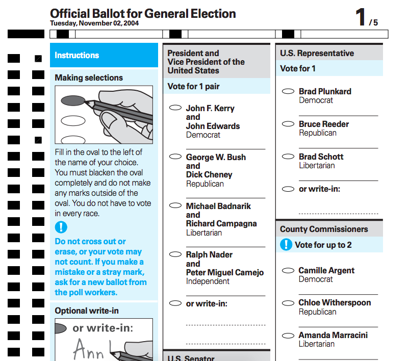 A scantron ballet. Example ballot that uses lowercase letters (which have better readability vs. all capitals), uses sans-serif fonts with clean strokes, support process and navigation, includes accurate instructional illustrations, and employs contrast and color to support meaning. Via AIGA.