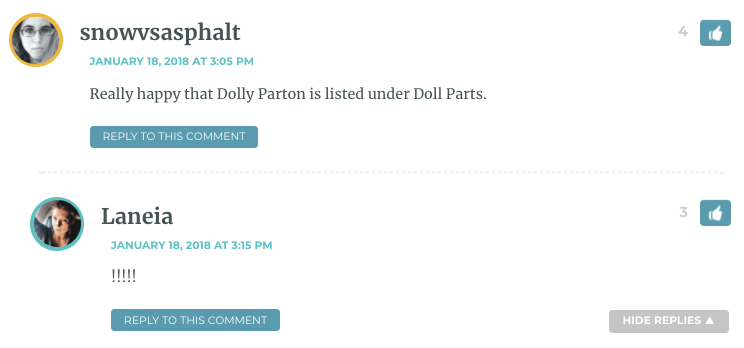 Really happy that Dolly Parton is listed under Doll Parts.