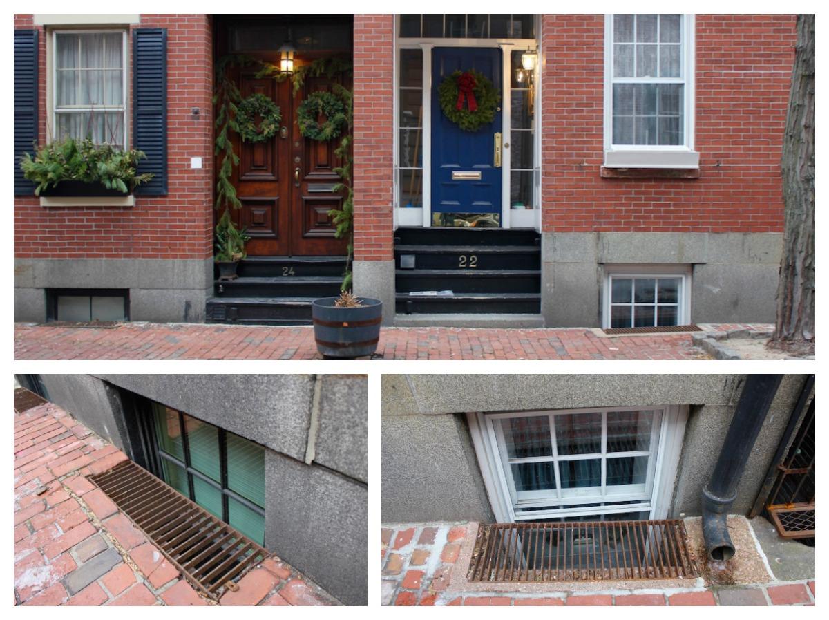 Brick house, windows below street level.