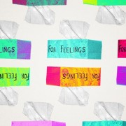 """pattern of tissue boxes that say """"for feelings"""""""