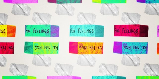 "pattern of tissue boxes that say ""for feelings"""