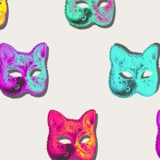 collage of colorful cat masquerade masks
