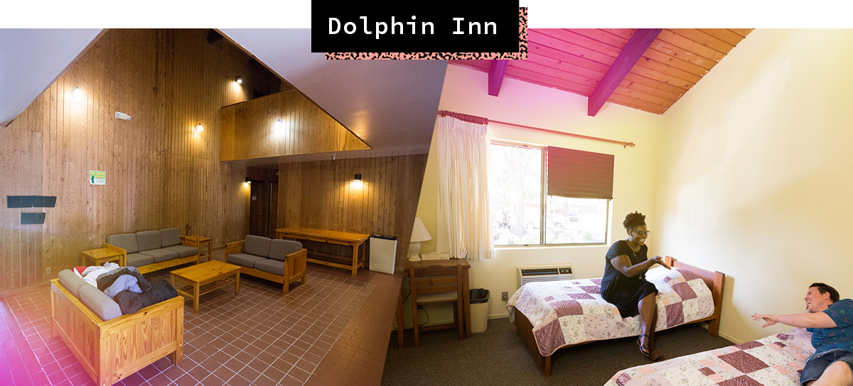 A-Camp X Lodging: Dolphin Lodge Common Area and Bedroom