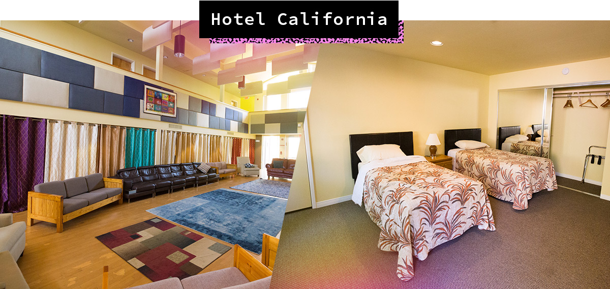 A-Camp X Lodging: Common area and beds