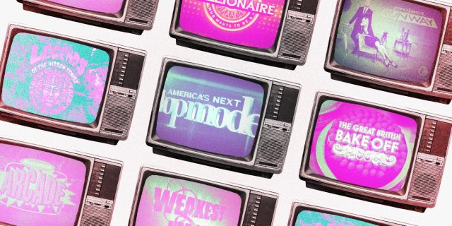 Pattern of old televisions featuring logos of popular game shows