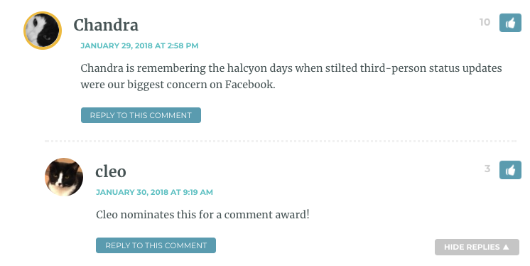 Chandra is remembering the halcyon days when stilted third-person status updates were our biggest concern on Facebook.