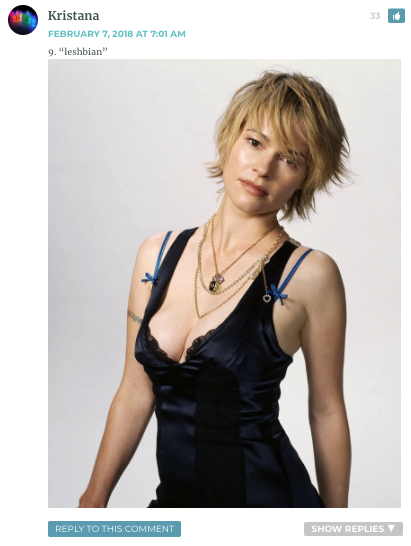 "Text: ""Leshbian"" Photo: Leisha Hailey staring at the camera, wearing a low-cut black tank top"