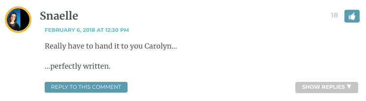 Really have to hand it to you Carolyn… …perfectly written.
