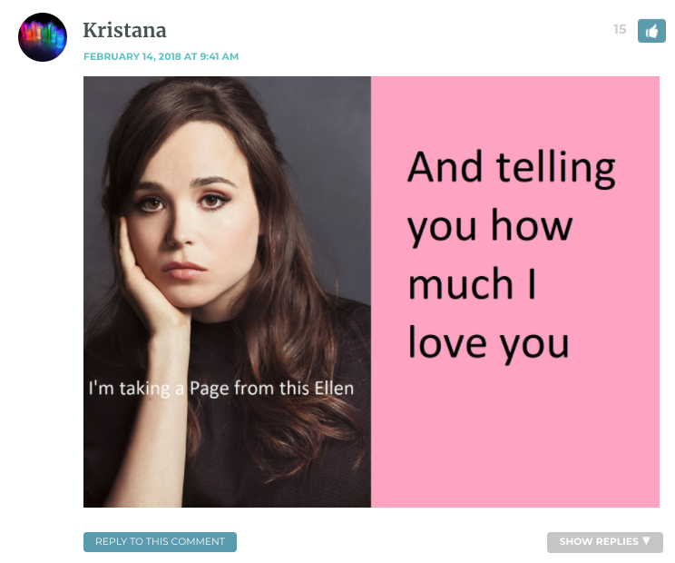 Image of Ellen Page. Text: I'm taking a page out of her book and telling you how much I love you.