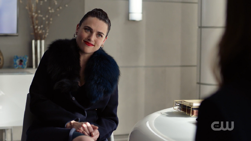 Lena smiles at Sam and it's a doozy