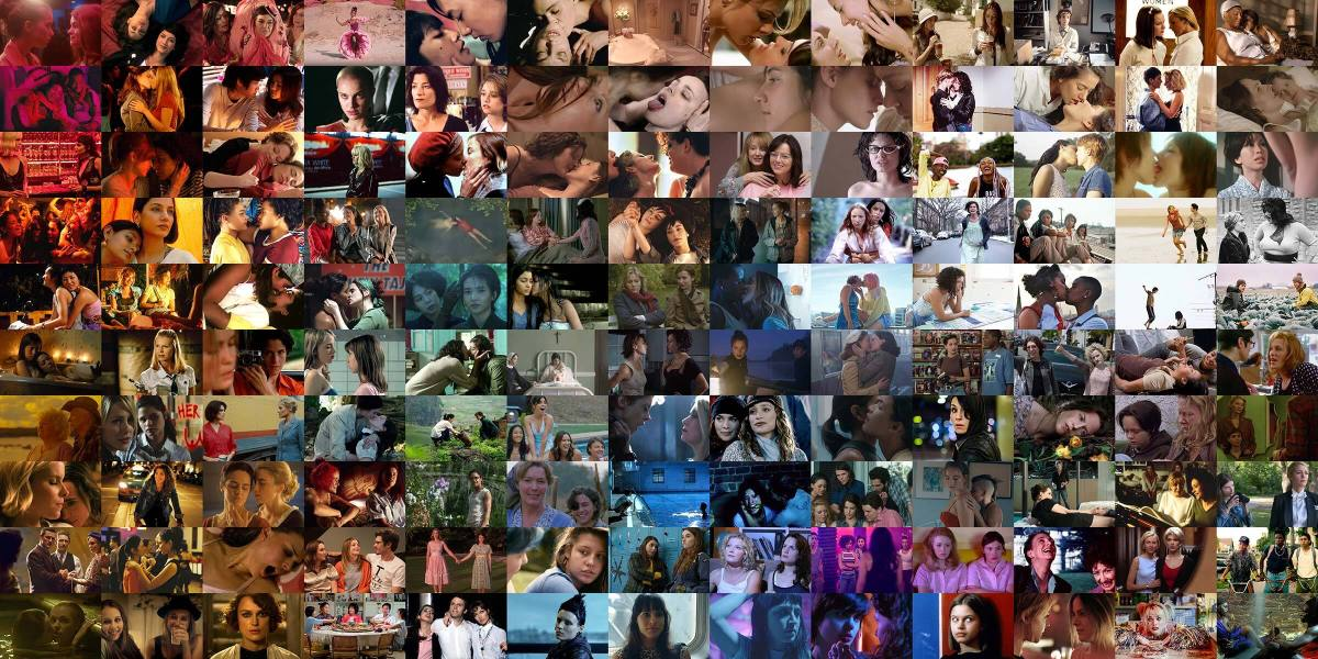 A collage of the 200 best lesbian movies of all time, arranged in rainbow colors.