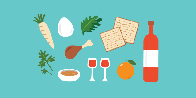 passover seder meal elements illustration