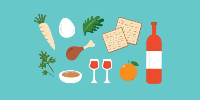 passover seder meal elements illustration