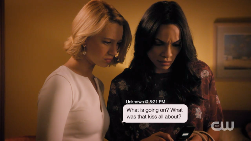 "Jane and Petra read a text that says ""what is going on? what was that kiss all about?"""