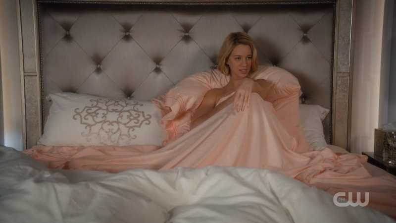 Petra tries to look chill in bed but does not, in fact, look chill