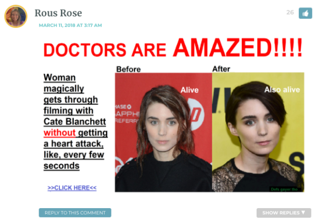 Photoshopped image. Heading: Doctors are AMAZED! Woman magically gets through filming with Cate Blanchett WITHOUT having a heart attack every five seconds.