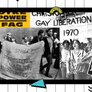 "Collage image of LGBTQ activism including Queer Nation stickers that say ""Dyke Power,"" image of Marsha P. Johnson holding a S.T.A.R. banner, a group of people with a ""Christopher Street Liberation Day"" banner, and a Silence = Death poster from ACT UP"
