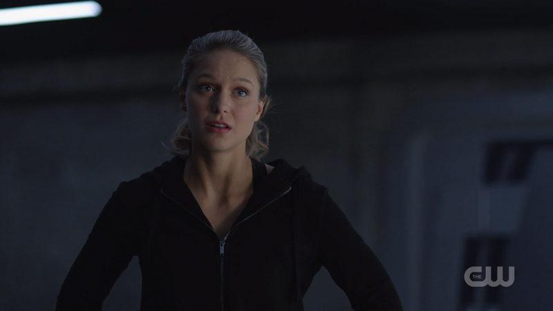 Kara looks concerned but all I can see is her DEO tracksuit