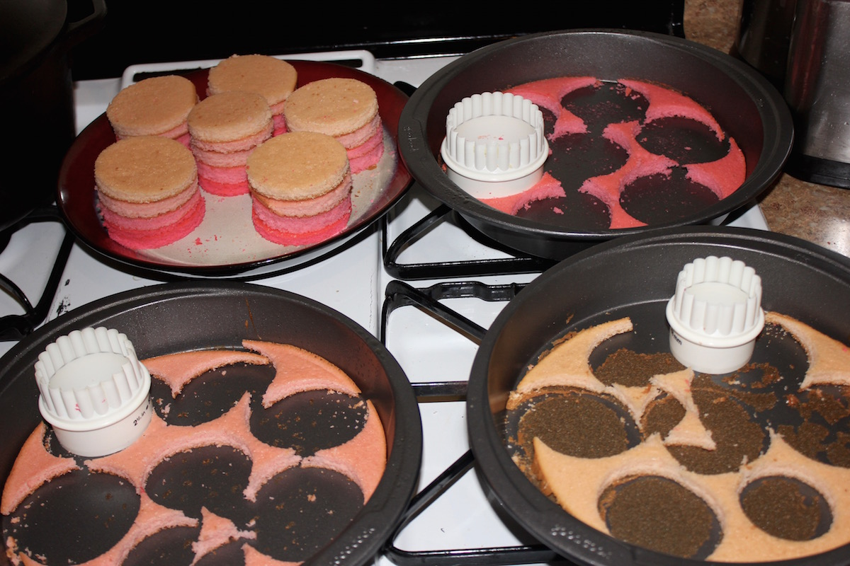 cakes with circles cut out