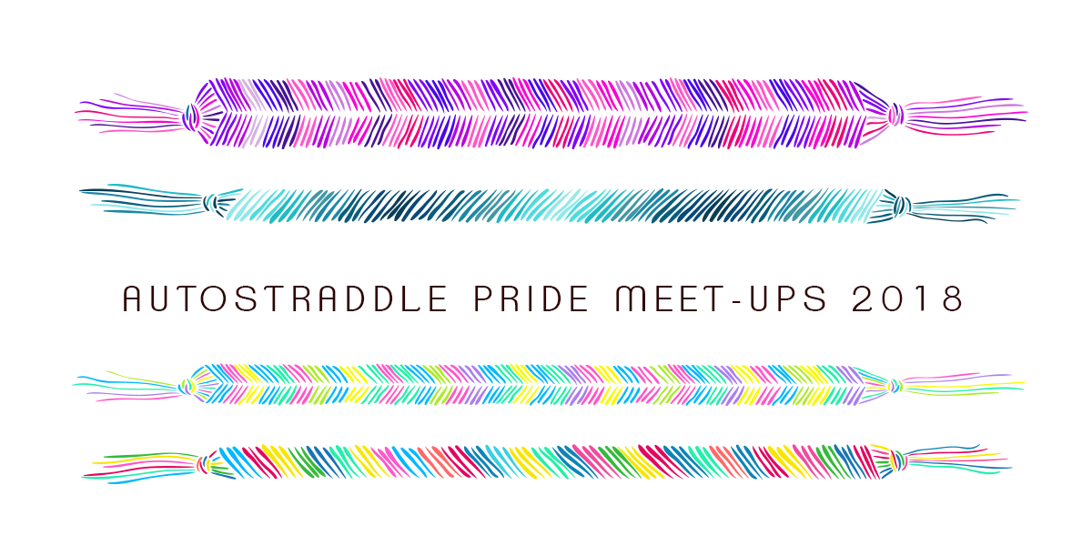 "Header graphic with multi-colored friendship bracelets with words ""Autostraddle Pride Meet-Ups 2018"""