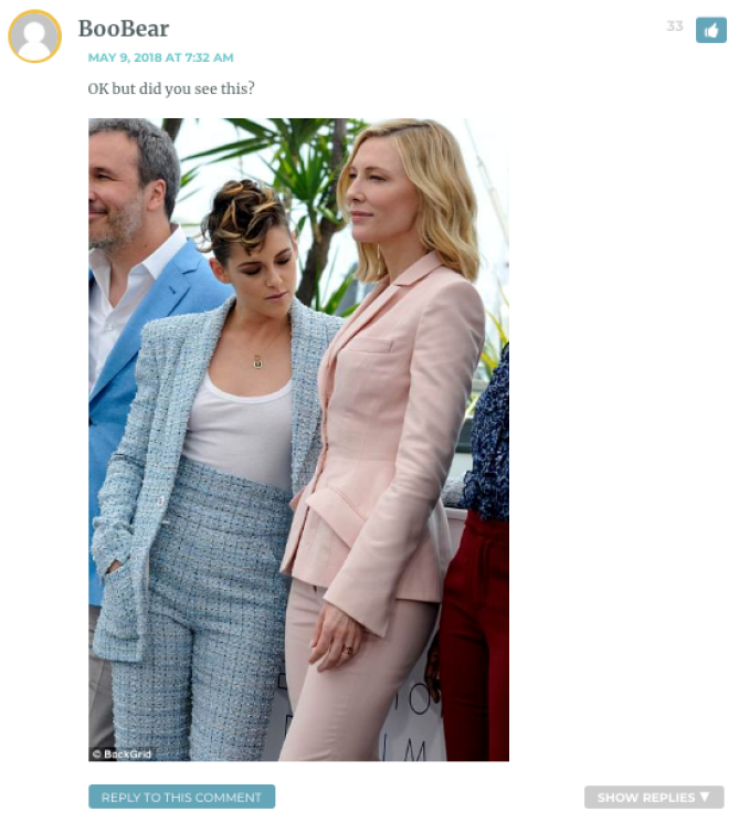 OK but did you see this? [Image of Kristen Stewart, at Cannes, staring at Cate Blanchett's breasts]