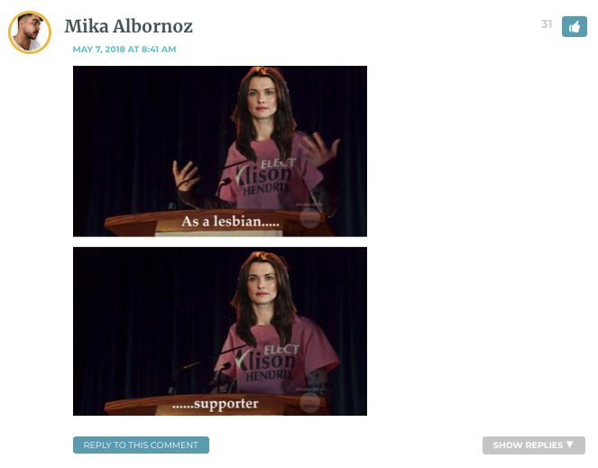 """[Image of Cosima from Orphan Black pretending to be her sestra Allison, giving a campaign speech and saying """"as a lesbian...supporter..."""" Her head has been replaced with the head of Rachel Weisz.]"""