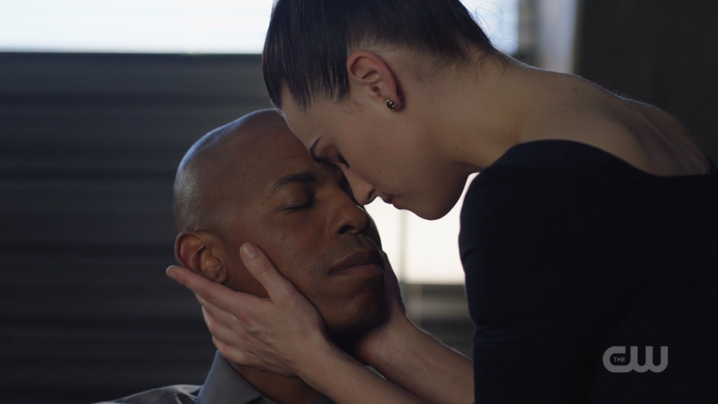 Lena presses her forehead to James's forehead