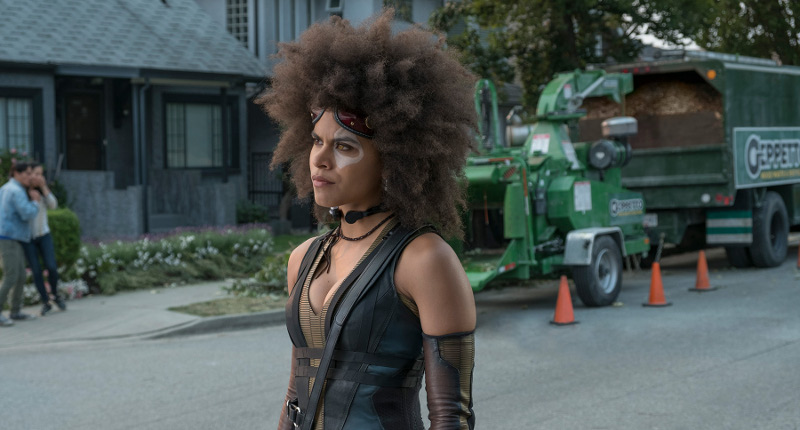 Domino looks fierce as she gets ready to fight