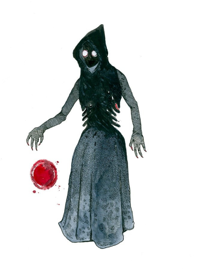 Watercolor illustration of the Flatwoods Monster