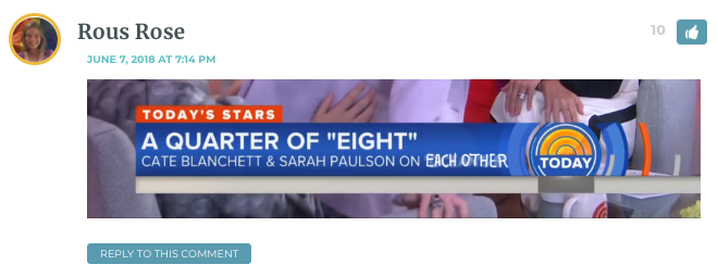 "Image of the Today Show headline that says ""Cate Blanchett and Sarah Paulson on -"" and replaced whatever was there with ""on each other."" There is a screenshot of Sarah grabbing Cate's butt."