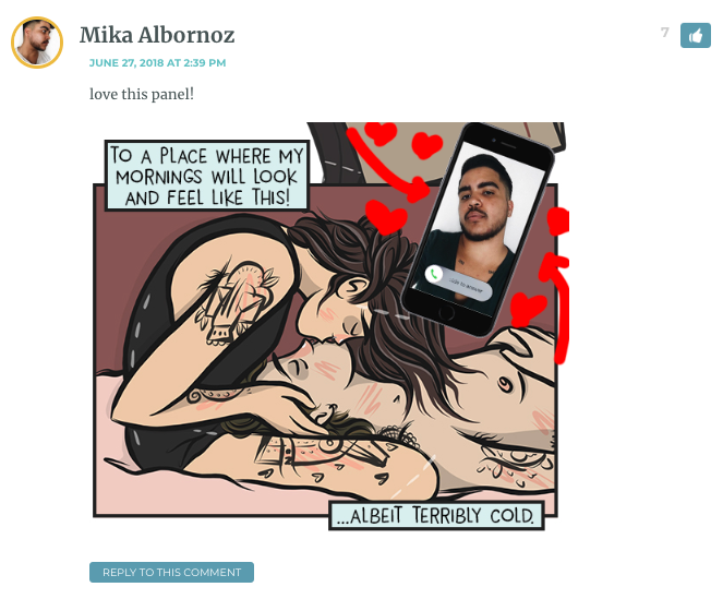 Panel of Alyssa kissing their partner. Mika has added an image of an incoming call from him on an iPhone, which the lovers are ignoring.