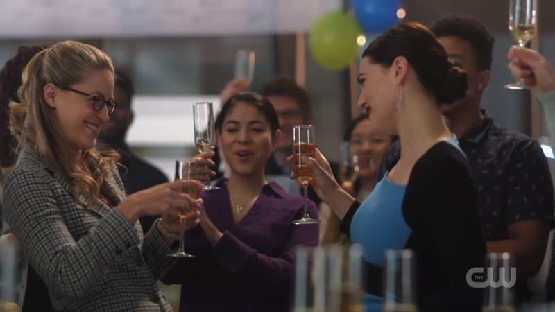 Kara and Lena toast to Kara's mysterious disappearance
