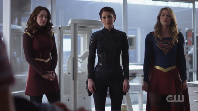 Alura, Alex and Supergirl stand at the ready