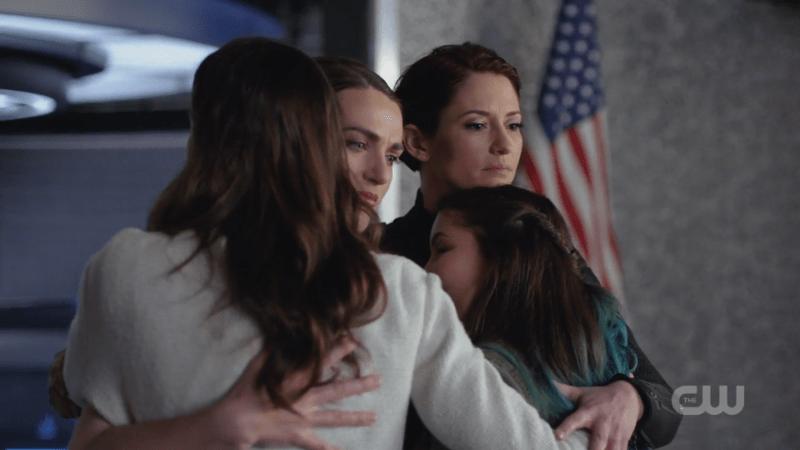 Kara, Alex, Sam, and Ruby group hug