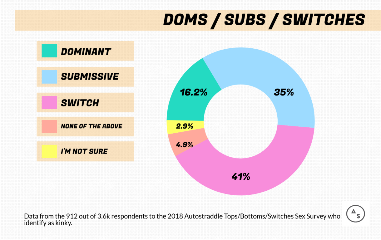 Graph of the Numbers of Dominants / Submissives / Switches: 16.2% Dominant, 35% Submissive, 41% Switches, 4.9% none of the above, 2.9% I'm Not Sure